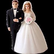 SOLD 1950s Lefton Bisque Bell Wedding Cake Top Bride & Groom
