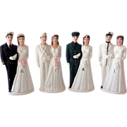 SOLD (4) Vintage Chalk MILITARY Wedding Cake Toppers NOS