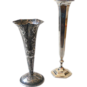 (2) Unmarked Unmatched Silver Plated Vases