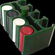 SALE 1930s Marbled Green Bakelite Poker Chip Holder