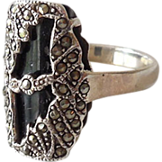 Fabulous Ladies Sterling Onyx & Marcasite Ring Size 10