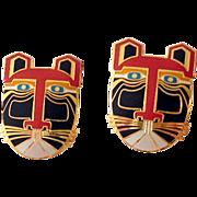 "1980s Laurel Burch ""MIIKIO""  Lion Tiger Post Earrings"