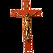 SALE LARGE Bakelite & Rhinestones Crucifix With Christ Figure