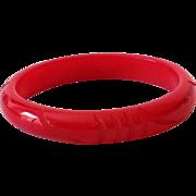 SALE 1930s Bakelite Bracelet Cherry Red Carved