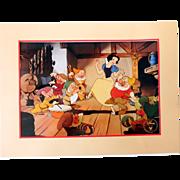 SOLD 1994 Disney Snow White 7 Dwarfs Lithograph Print Disney Store Exclusive