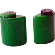 1930s Green Bakelite Salt and Pepper Shakers