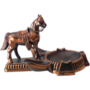 SOLD Exceptionally Nice Vintage Metal Horse Double Pipe Holder