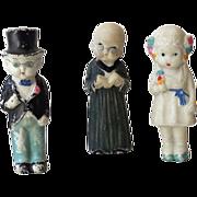 SOLD (3) 1930s  Bisque Dolls Bride Groom & Preacher