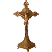 Vintage Metal Table Top or Altar Crucifix Cross With Christ Figure