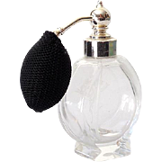 Vintage Etched Glass Perfume Bottle With Atomizer