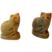 Pair Of Carved Stone Japanese Cat Netsukes