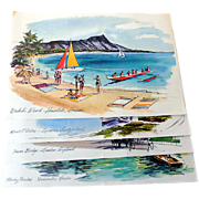 4 Vintage Watercolor Prints United Airlines Advertising