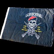 Large Nylon Army Airborne Flag Skull & Crossed Rifles