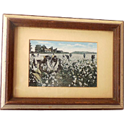Early 1900s Postcard Black Americana Cotton Pickers Framed