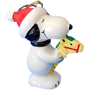 SALE PENDING Vintage Ceramic Snoopy With Stick Horse Christmas Tree Ornament Japan