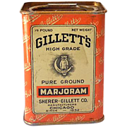 1920s Gillett's Spice Tin Excellent Graphics Owl on Moon