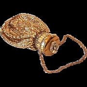 Stunning Jewel Top 1930s Whiting Davis Gold Metal Mesh Beggar's Bag