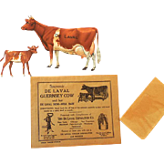 Complete De Laval Tin Guernsey Cow and Calf in Original Envelope 1910-1920
