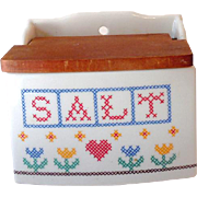 Ceramic Pottery Hanging Salt Box With Wood Lid