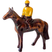 Vintage Metal Race Horse and Negro Jockey