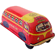 Vintage Tin Lithograph Toy Passenger Bus Lupor USA