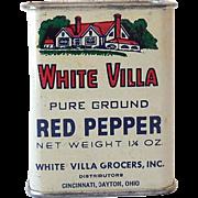 SOLD All Tin Vintage White Villa Spice Tin Nice Graphics