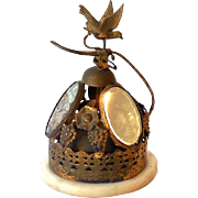 Gorgeous Antique Brass Desk Bell On Marble Base