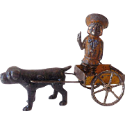 Early 1900s Hubley Cast Iron Buster Brown in Cart & Tige Toy