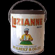 Large Luzianne Coffee Advertising Tin Black Americana
