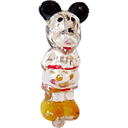 Vintage Mickey Mouse Glass Perfume Bottle