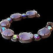 Striking Vintage Bracelet Large Opalescent and Aurora Borealis Stones
