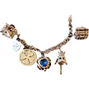 1950s-60s Charm Bracelet With Articulated Poodle Dog Charm & 5 others