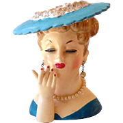 Figural Lady In Pearls Napco Head Vase Dated 1958