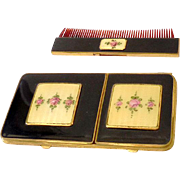 1920s Bliss Guilloche Enamel  Compact & Cigarette Case With Matching Comb