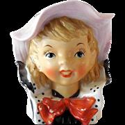 Sweet Vintage Lady Head Vase Young Girl