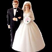 Vintage Lefton Bisque Wedding Cake Top Bell Bride & Groom