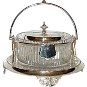 SALE Antique Covered Cut Glass & Silver Candy Dish or Biscuit