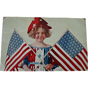 SOLD Antique Independence Day Postcard - Young Girl Holding 2 Flags