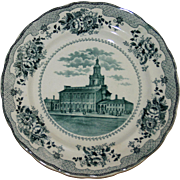 Antique Independence Hall Teal Transferware Plate by Buffalo Pottery