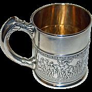 Antique Sterling Gorham Mug with Medieval Scene, 1886