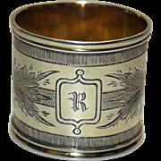 Russian Sterling Napkin Ring 1865-1883 Mikhail Karpinsky - Rare