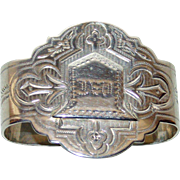Antique Coin Silver Napkin Ring w Bell Shaped Cartouche