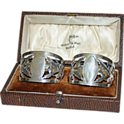 SALE Boxed Pair Antique Sterling Napkin Rings-Walker & Hall