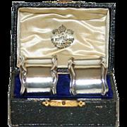 Pair Antique Sterling English Napkin Rings in Original Box, Hallmarked