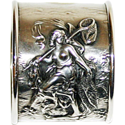 Antique Unger Sterling Napkin Ring Maiden w Net & Fish Rare