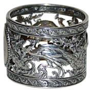 SALE Antique American Coin Silver Napkin Ring with Peacocks