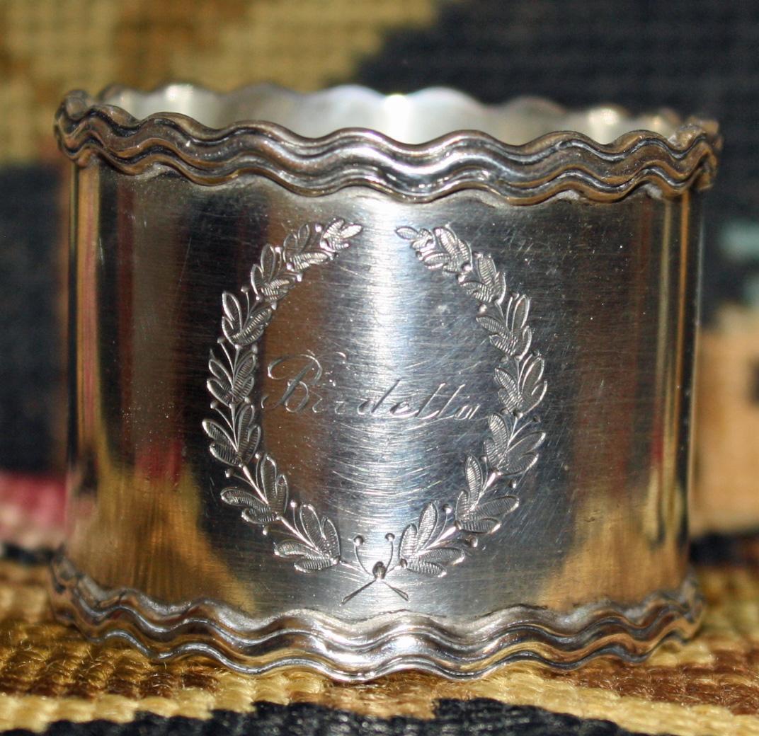 Antique Shreve Sterling Napkin Ring - Name Birdetta