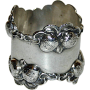 SALE Antique Sterling Napkin Ring with Strawberries c. 1915 - Rare
