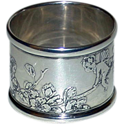 SALE Tiffany Antique Sterling Silver Napkin Ring with Fairies - Stunning