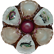 Antique Oyster Plate with Hand Painted Wells